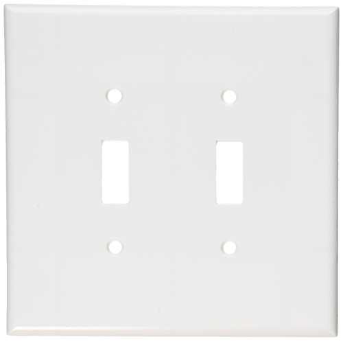 Leviton 88109 001-000 2-Toggle Oversized Wall Plate, 2 Gang, 5-1/4 in L X 5.31 in W 0.255 in T, Smooth, 1-Pack, White
