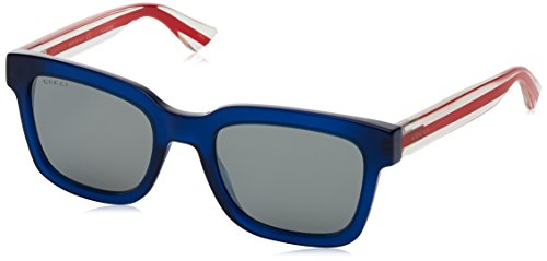 Gucci GG0001S Sunglasses 004 Blue/Red/Crystal / Silver Lens 52 mm one (Crystal Blue Sunglasses)