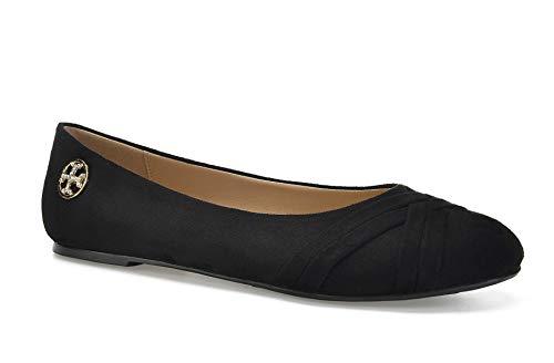 (ComeShun Women's Ballet Comfort Light Faux Suede Multi Color Shoe Flat Size 9 Black)