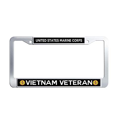 Nuoyizo United States Marine Corps Vietnam Veteran Auto License Plate Frame Cute Stainless Steel Metal Waterproof Auto License Cover Holder with Bolts Washer Caps for US Standard