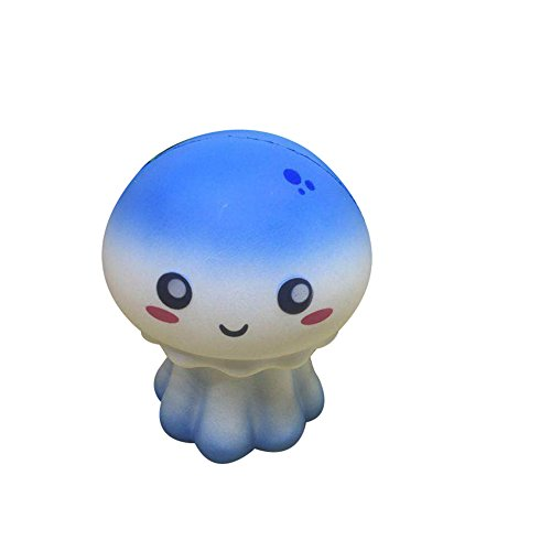 CHoppyWAVE Squeeze Toys Stress Relief, Cute Soft Squishy Jellyfish Toy Slow Rising Children Decompression Relax Gift - Blue