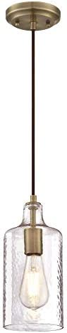 Westinghouse Lighting 6371400 One-Light Indoor Mini Pendant Light, Antique Brass Finish with Clear Textured Glass