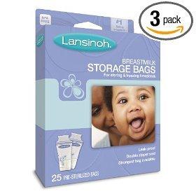 Lansinoh Breastmilk Storage Bags, 25-Count Boxes (Pack of 3)