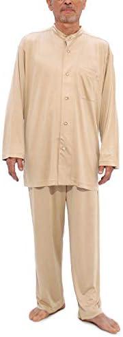 パジャマ シルクニット 前開き メンズ/シャンパンゴールド・Sサイズ