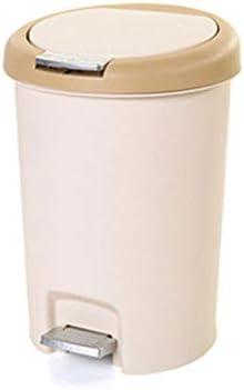 LJHA lajitong ごみ箱、家庭用ペダル大型プラスチック製のリビングルームのバスルームの寝室のごみ箱 (色 : クリーミーホワイト, サイズ さいず : 21.5 * 35.5cm)