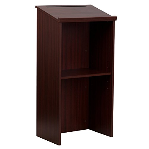 - AdirOffice Stand up, Floor-standing Podium, Lectern with Adjustable Shelf and Pen/Pencil Tray (Mahogany)