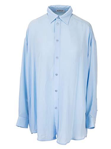 Balenciaga Luxury Fashion Womens 595046TAN015840 Blue Shirt | Fall Winter 19