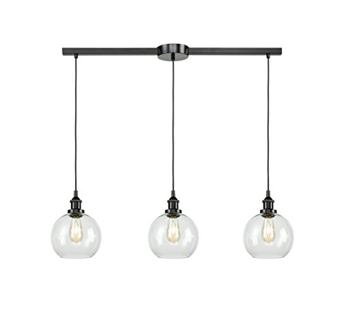 EUL Industrial Kitchen Island Lighting Linear Pendant Lighting Clear Glass Globe Oil Rubbed Bronze--3 Lights (Round Three Pendant Light Bronze)