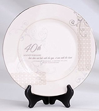 40th Anniversary Plates - 40th Wedding Anniversary Love Sees with the Heart Porcelain Plate with Stand