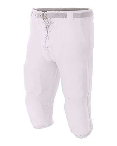 A4 Sportswear Adult White 4X Moisture Wicking Football Pants with Knee/Thigh Pad Pockets ()