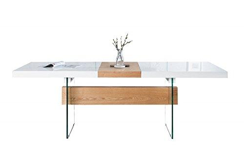 moderner design esstisch wei hochglanz eiche furnier glas ausziehbar 160 200 cm von casa. Black Bedroom Furniture Sets. Home Design Ideas