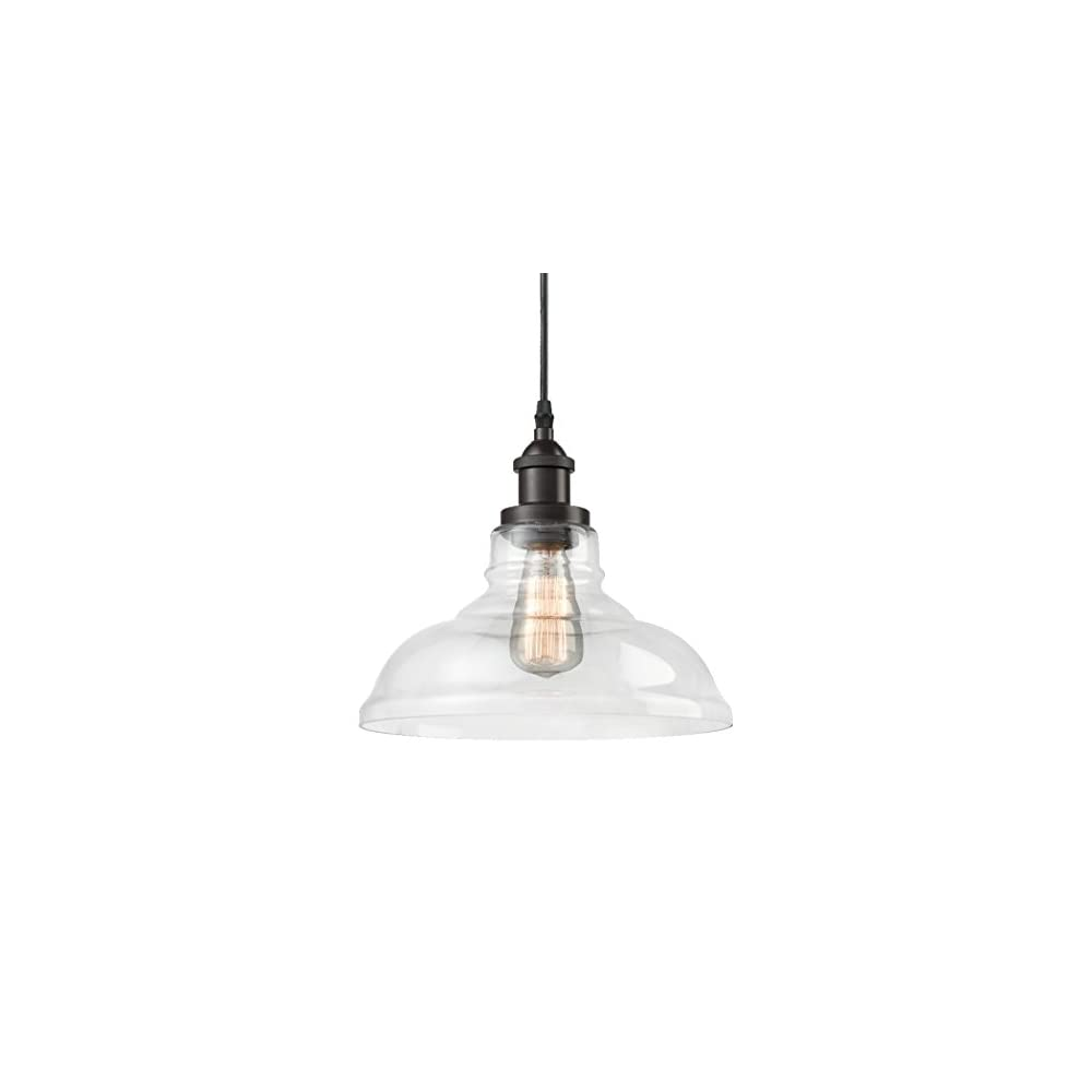 CLAXY Ecopower Industrial Edison Vintage Style 1-Light Pendant Glass Hanging Light Kitchen Island Dining Pendant…