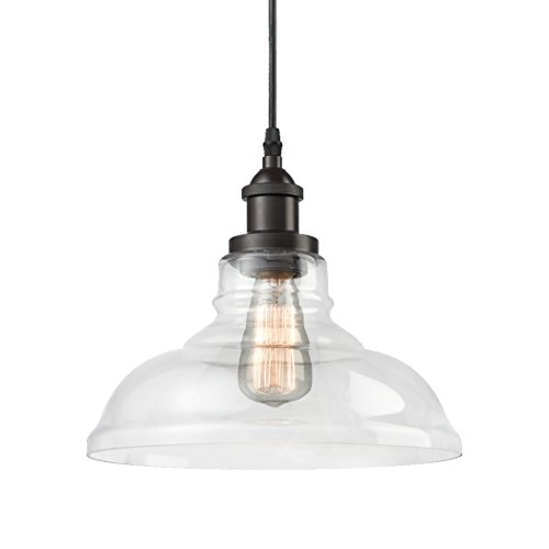 (CLAXY Ecopower Industrial Edison Vintage Style 1-Light Pendant Glass Hanging Light)