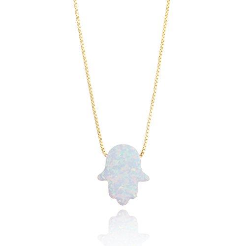 (Luckeyui Fatima Hamsa Hand Pendant Created White Opal Necklace Jewelry Gifts for Women)