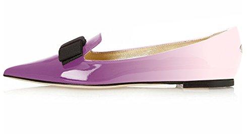 Patent Flats Office Purple Leather Eldof Dress Comfortable Toe Flats Walking Pumps Pointed Flats Pumps Women's light Classic Flats n87qaYR