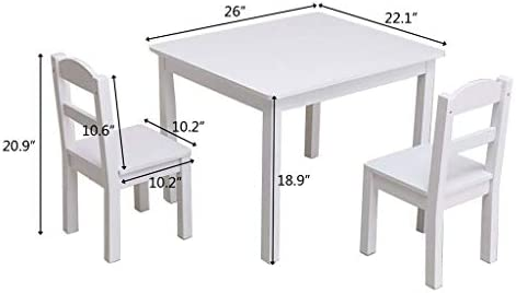 Uzaea Early Childhood Children's Solid Wood trapezoidal Table Learning Wooden Table Four-Person Student Table Children's Table and Chair Set White (1 Table, 4 Chairs)