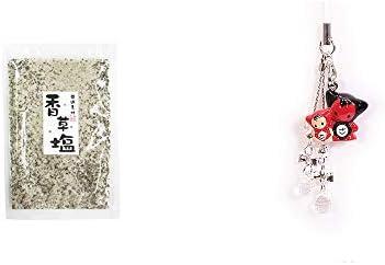 [2点セット] 香草塩 [袋タイプ](100g)・さるぼぼペアビーズストラップ 【クリア】/縁結び・魔除け//