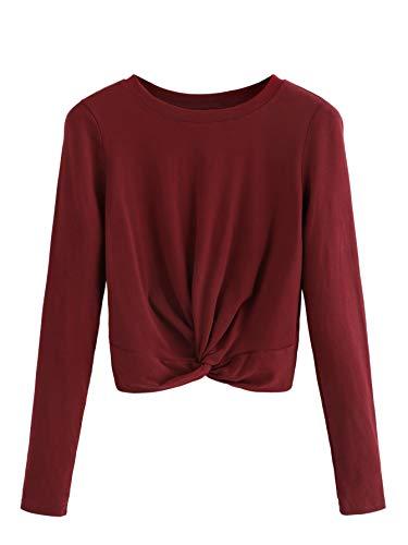 SweatyRocks Women's Tie Dye Print Twist Knot Long Sleeve Crop Top T-Shirt Blouse (Medium, Burgundy)