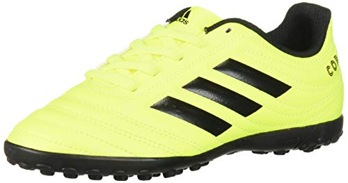 adidas Unisex Copa 19.4 Turf Soccer Shoe Black/Solar Yellow, 6 M US Big Kid (Women Indoor Shoes Soccer)