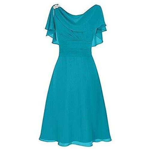 Pervobs Elegant & Cute Formal Dress Women Wedding Bridesmaid High-Waist Ruffled Party Ball Prom Gown Cocktail Dress(XL, Blue)
