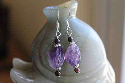 chaujewl Cute Small Natural Free-Form Rock Amethyst Earrings, Sterling Silver Hook ()