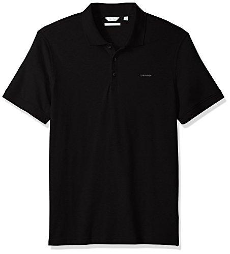 Calvin Klein Men's Short Sleeve Cotton Polo, Black, L by Calvin Klein