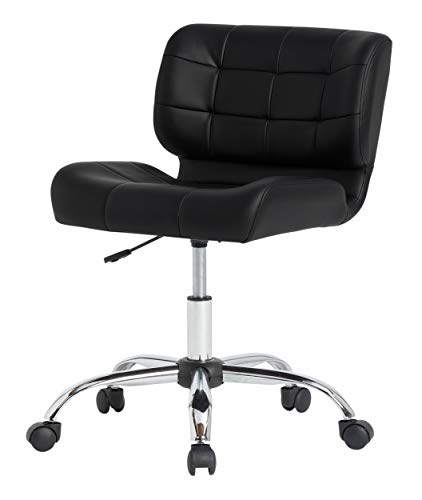 n Black Crest Armless Office Chair Swivel Task Chair Desk Chair Computer Chair, Black, 10658 ()