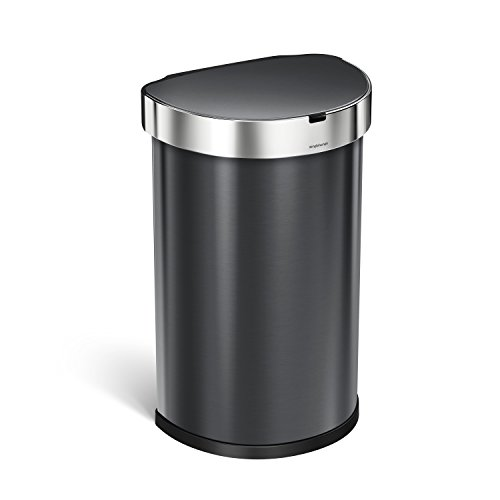 simplehuman Semi-Round Sensor Trash Can 45 L / 11.89 Gal, Black Stainless Steel
