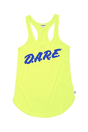 Women's Neon Yellow Dare Shirt - 80's Halloween Costume Shirt Tank Top (Medium)