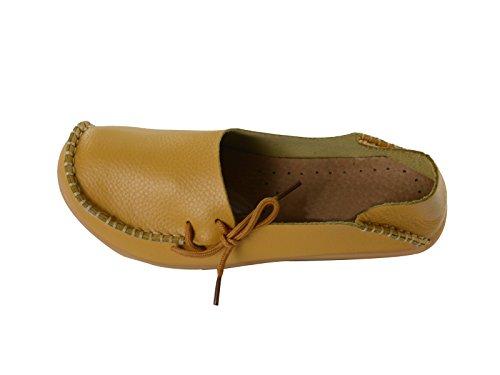 Secolo Stella Donna Casual In Pelle Morbida Comfort Lace-up Annodato Pantofole Mocassini Scarpe Da Barca Pantofole Mocassini Guida Piatte Giallo