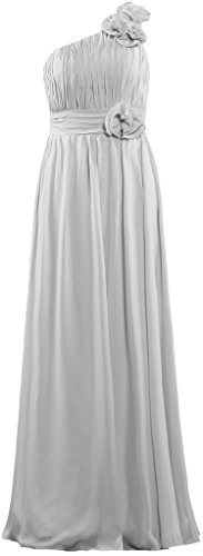 ANTS Flowers Prom Bridesmaid One Dresses Gowns Chiffon Shoulder Silver Long aArawF