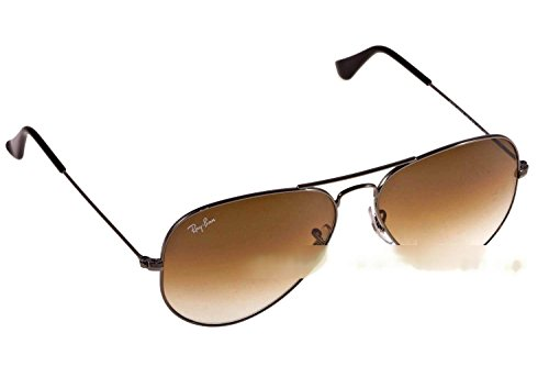 RAY-BAN RB 3025 AVIATOR SUNGLASSES (58 mm, 004/51 GUNMETAL/GRADIENT - Brown Ban Sunglasses Ray Aviator