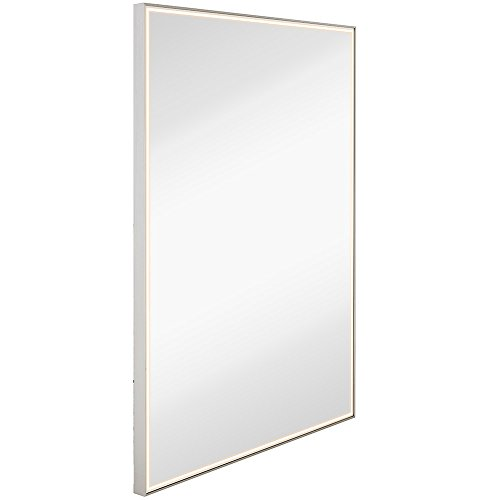 Brushed Metal Mirror with Lights | Lighted Backlit LED Wall Mirror | - Contemporary Frame Bathroom Rectangle Mirrors Stainless Brushed Steel