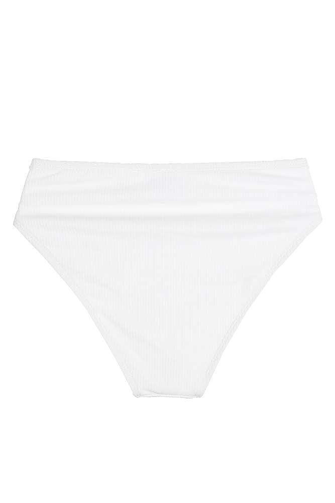 0b71257cea98e Amazon.com: California Waves Juniors Arctic White Ribbed Bikini Bottom L:  Clothing