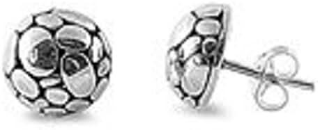 Half Round Disco Ball .925 Italian Sterling Silver Small Post Stud Earrings (Pierced Ears)