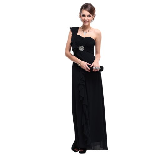 Dearta Chiffon Floor Sheath Length One Column Women's Black Shoulder Evening Dresses rqpB0rO