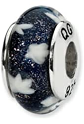 Reflections Sterling Silver Blue/White Stars Hand-blown Glass Bead / Charm