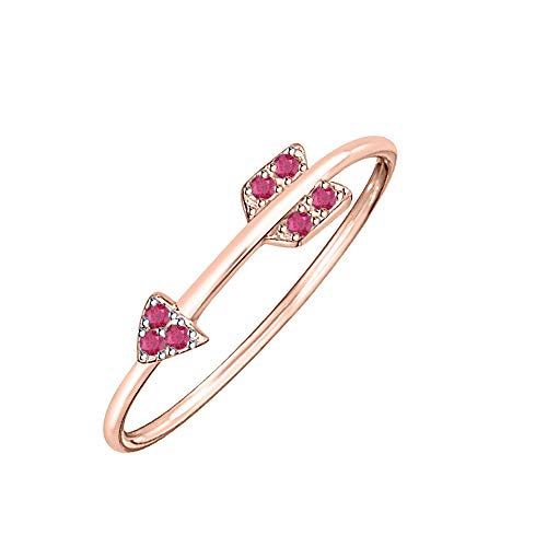(tusakha Cupids Love Arrow 14K Rose Gold Created Ruby 925 Sterling Silver Women's Thin Stackable Engagement Ring)
