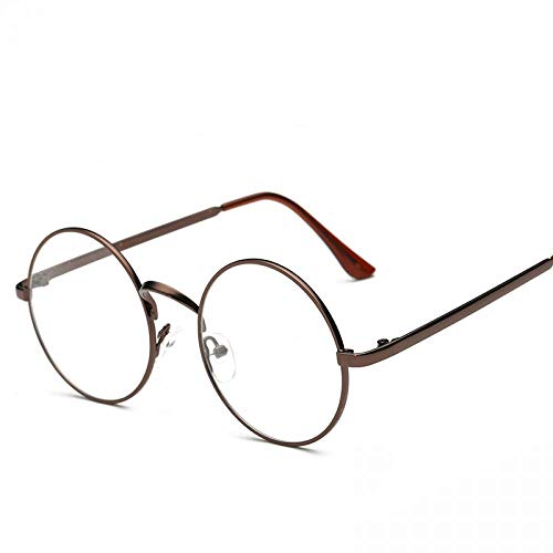 Round Glasses Frames Clear Lens Glass Student Computer Glasses Metal Bronze (Grau Und Bronze)