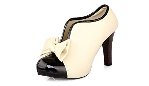 LATH.PIN Classic Vintage Womens Shoes Pumps High Heels Ankle Boots Beige Cream Party Bridal Stiletto with Bow (6, Beige)