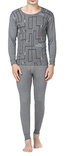 today-UK Men Winter Warm Jacquard Crewneck Print Soft Thermal Underwear Set 1