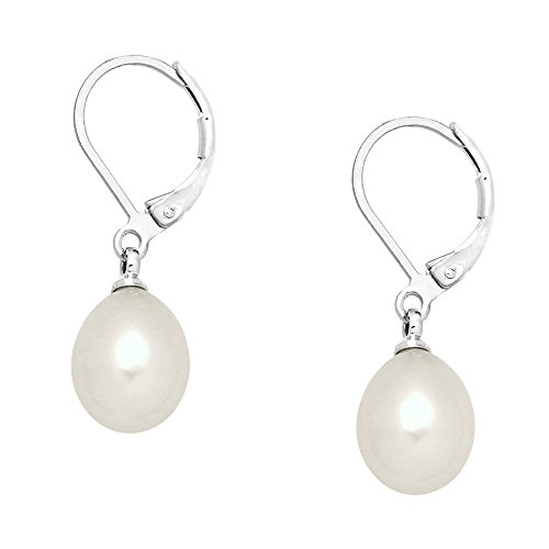 - Falari 10mm Round Natural Stone Earring High Polished Rhodium Leverback (Mother of Pearl (White))
