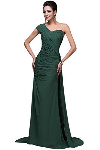 sunvary gasa vestidos de parte trasera abierta arreglo para el hombro One Pageant vestidos de fiesta Verde