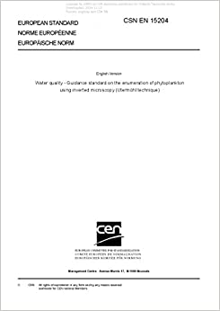 Book CSN EN 15204 - Water quality - Guidance standard on the enumeration of phytoplankton using inverted microscopy (Utermöhl technique)