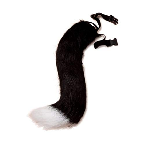 BANLAN Faux Fur Fox Costume cat Tail Adult/Teen Cosplay Halloween Christmas Party Costume One Size(Black and White) -