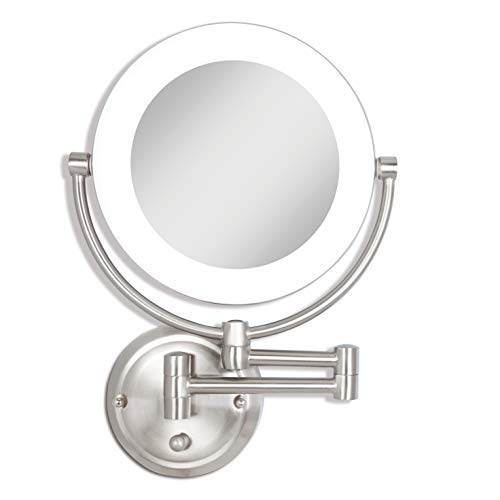 Zadro Dual-Sided Surround Light Swivel Wall Mount Make up Mirror with 1X & 10X magnification (Hardwire Ready). -