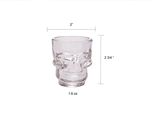 Palais Glassware Cr/âne Collection Set Of 6 Clear Skull Shot Glasses