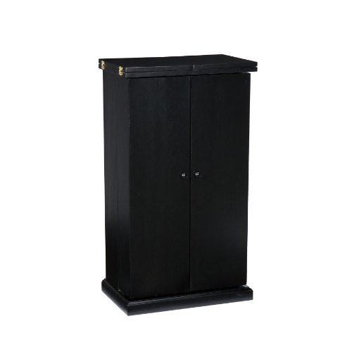 (Southern Enterprises Space Saving Fold Away Bar Cabinet - Multiple Compartments - Deep Black)