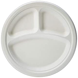 AmazonBasics Compostable 3-Compartment Plates, 9-Inches, Pack of 250
