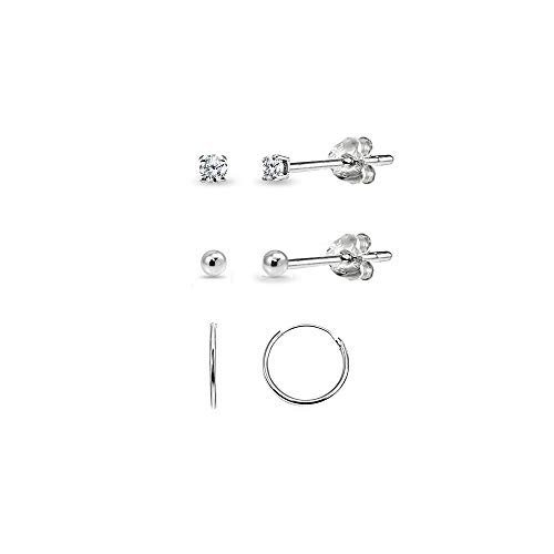 3 Pairs Sterling Silver 10mm Endless Hoops, 2mm Round CZ & Ball Stud Unisex Cartilage Earrings - Set Single Diamond Stud